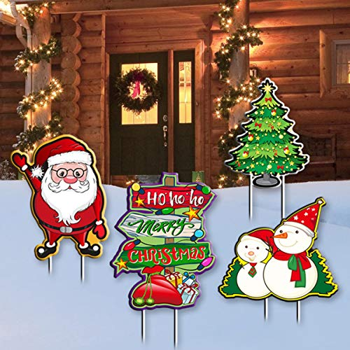 Haimimall Merry Christmas Yard Signs 4PCS Outdoor Decoration Christmas Tree Corrugate Yard Stake Signs Christmas Decoration Lawn Yard Outdoor Decoration