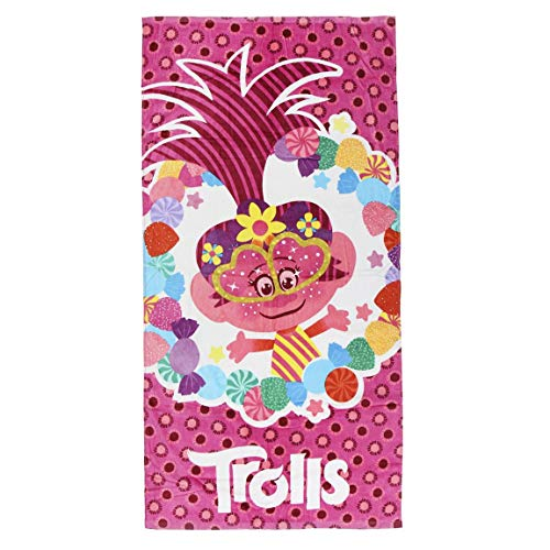 Cerdá Toalla Playa Infantil Trolls, Rojo, 70 x 140 cm