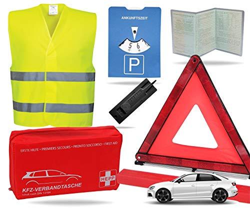 TK Gruppe Timo Klingler 8 in 1 Sicherheit Set 2020 Auto KFZ Warnweste, Warndreieck, Verbandskasten, Parkscheibe, Rettungsdecke UVM. - Erste Hilfe bei Unfall (Unfall Set mit Warndreieck)