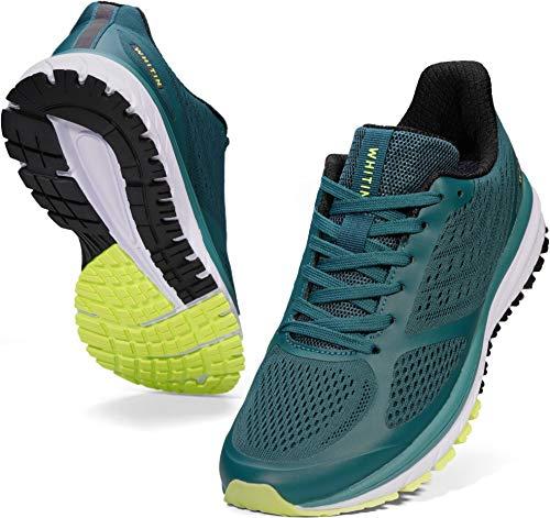 WHITIN Zapatillas de Deporte Hombre Zapatos para Correr Calzado Deportivo Zapatillas de Running Sneaker Transpirable Gimnasio Bambas Ligero Respirable Verde Negro 43