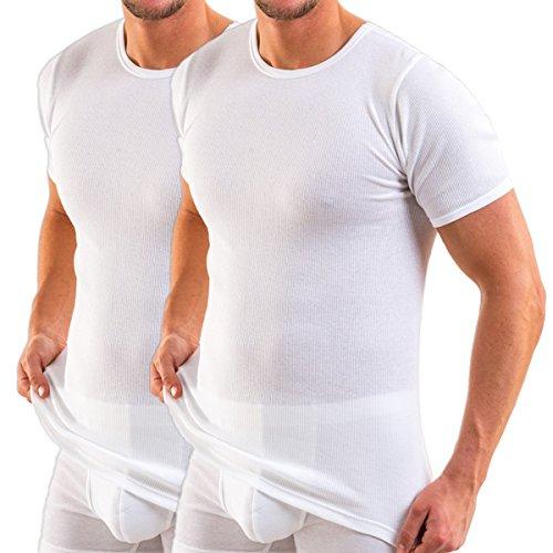 HERMKO 3848 Herren Bio Kurzarm Shirt Doppelripp 2er Pack, Größe:D 7 = EU XL, Farbe:weiß