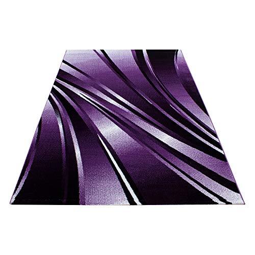 SIMPEX Tapis moderne design pour salon à poils courts - Motif abstrait - Motif vagues - Noir/violet/blanc - Dimensions : 160 x 230 cm