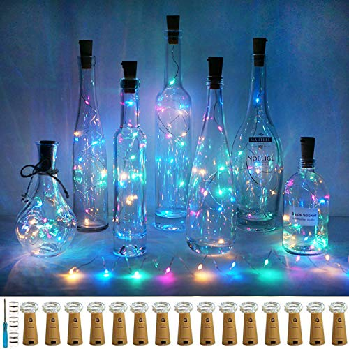 Wine Bottle Lights with Cork, LoveNite 15 Pack Battery Operated 10 LED Cork Shape Silver Wire Colorful Fairy Mini String Lights(No Bottles) for DIY, Party, Christmas, Wedding Decor (4 Colors)