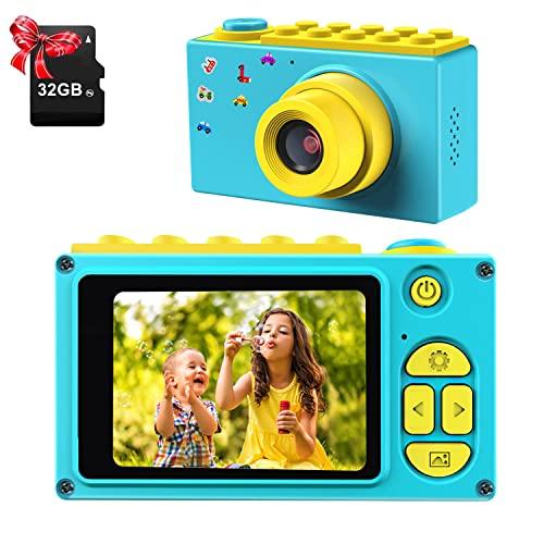 ShinePick Cámara Digital para Niños,Zoom Digital de 4X / 8MP / 2' TFT LCD de la Pantalla Cámara Fotos con Tarjeta de Memoria (Azul, 32GB Tarjeta incluida)