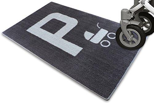Schmutz-Unterlage für Kinderwagen & Buggy/waschbarer Funktionsteppich – schützt den Boden/stark saugende Mikrofaser/praktisches Zubehör / 67x110cm (grau -