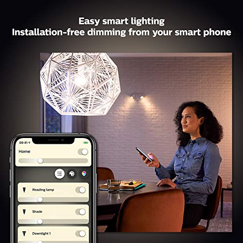 Philips Hue White Smart Bulb Twin Pack LED [E27 Edison Screw] with Bluetooth. Works with Alexa and Google Assistant.