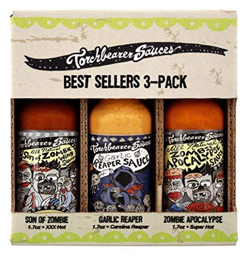 Torchbearer Sauces Hot Sauce Best Sellers Mini Bundle Set, 1.7 Oz Each: Zombie Apocalypse, Garlic Reaper, & Son of Zombie