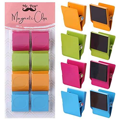 "Mr. Pen- Magnetic Clips, 8 pcs, Assorted Color, 1.2"", Metal Clips, Refrigerator Magnets, Clip Magnets, Magnet clips, Fridge Magnet Clips, Magnetic Clips for Refrigerator, Magnetic Clips for Whiteboard"