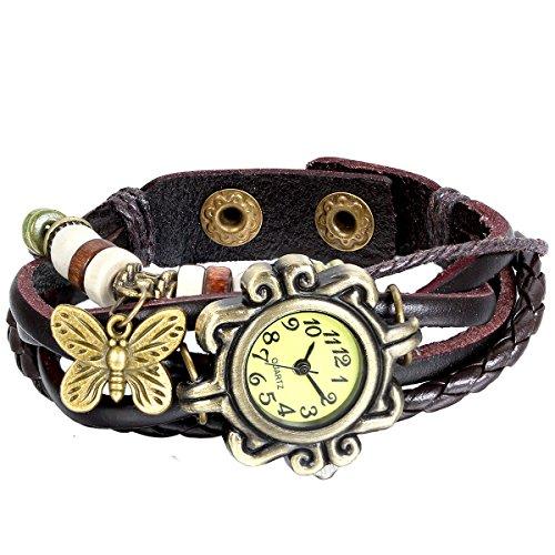 JewelryWe-Reloj de Pulsera con Correa de Piel con Cuentas con diseño de...