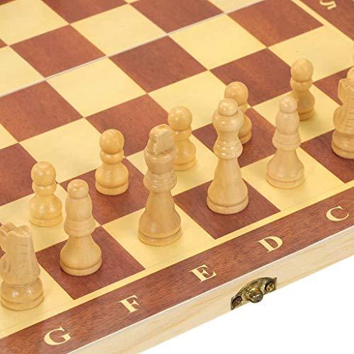YBBGHH Tablero de ajedrez de Madera portátil Tablero Plegable Juego de ajedrez Juego de ajedrez Internacional para Fiestas Actividades Familiares 9.4 * 4.7 * 1.1in