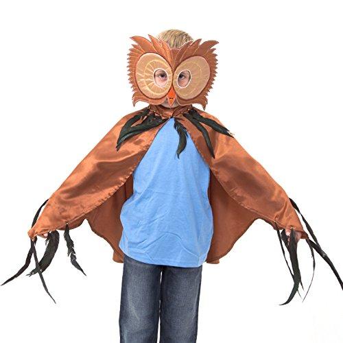 Slimy Toad - Fantastique déguisement chouette marron pour enfants (ensemble cape et masque) Costume de chouette luxe fait main (3-8 ans)