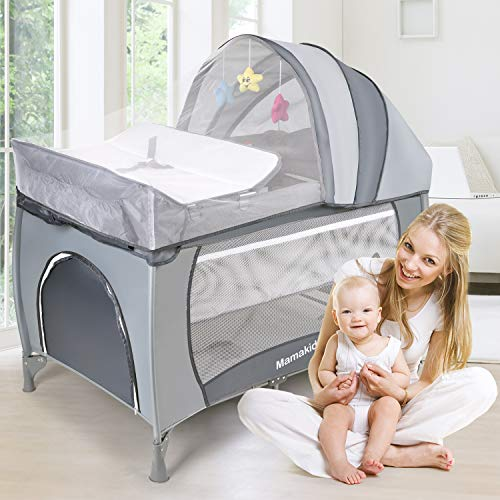 Baby Crib Foldable Travel Cot Bed Playpen with Bassinet, Changing Table, Wheels and Brake, Portable Design with Carry Bag, Nursery Center for Boys and Girls with Toys (Grey)