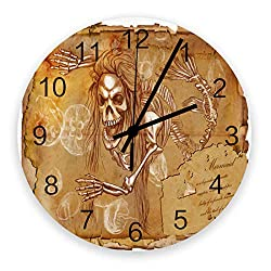 12 Inch Silent Round Wooden Wall Clock The Ancient Skull Parchment Wall Clock, Non Ticking Battery Operated Quartz Home Decor Wall Clocks for Living Room/Kitchen/Office