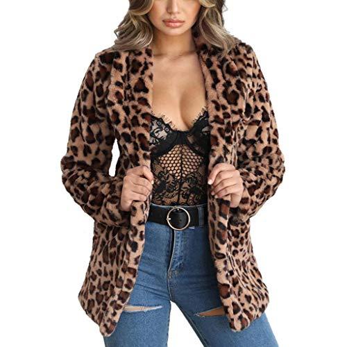 Women Luxury Faux Fur Long Sleelve Cardigan Fashion Shaggy Top Jacket Leopard Brown