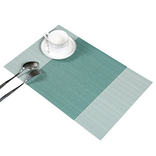 Guwheat - Manteles individuales para comedor, de vinilo tejido, lavables, duraderos, resistentes al calor, antideslizantes, de PVC, Turquesa, 6