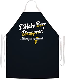 Attitude Aprons Fully Adjustable I Make Beer Disappear What's Your Superpower? Apron-Black
