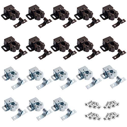 20 Stück Möbelschnäpper für Tür, Doppelrollenverschluss/Schranktürverschluss, Festhalteschrankverschlüsse mit Schrauben, Türkugelrollenverschluss für Möbelschrank (Rotbronze und Silber)