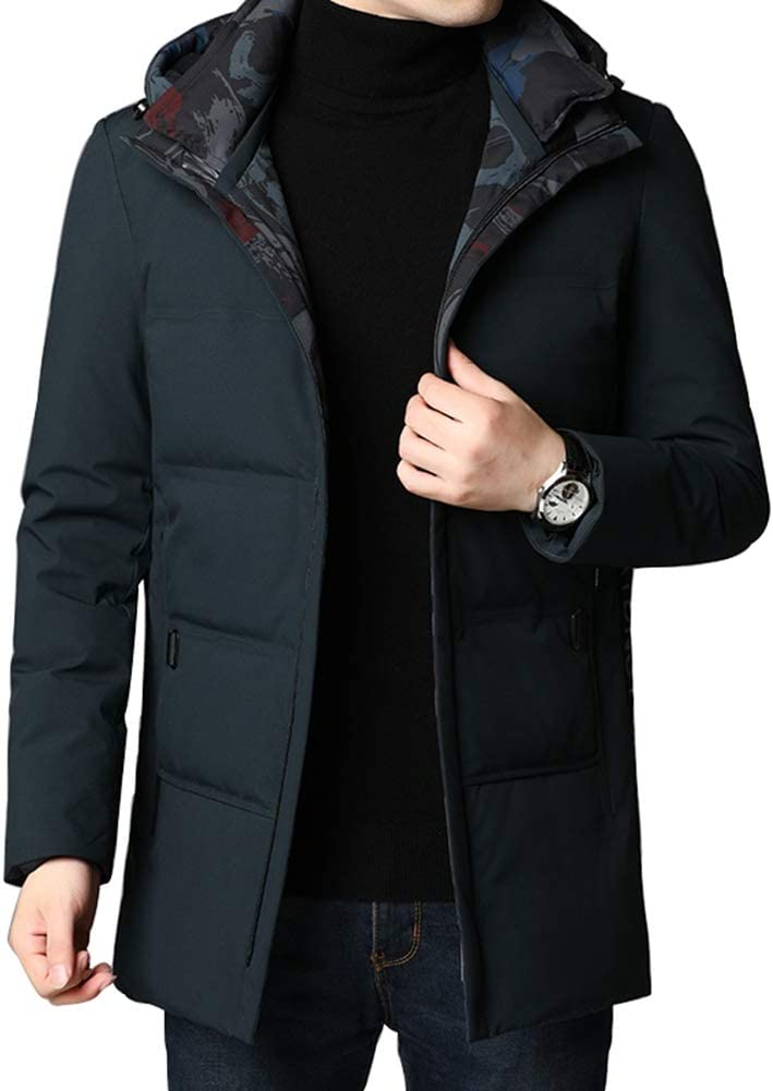 Down jacket Middle-Aged Men's, Fashionable Hooded Medium Long Thicken Winter Coat, Padding: 90% Gray Duck Down (Color: Black, Gray-Green, Blue)
