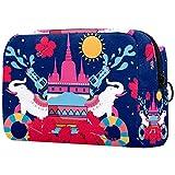 Bolsa de maquillaje grande para cosméticos, bolsa de maquillaje de viaje, bolsa de aseo portátil, bolsa de lavado para mujeres, niñas, fantasía, unicornio, parejas, mundo mágico