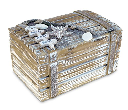 Puzzled Baja Medium Rustic Wood Nautical Jewelry Box, 6.75' x 3.75' Handcrafted Hinged Lid Starfish Seashell Decor Keepsake Desk Organizer or Gift Box for Rings & Trinkets - Beach Home Decor Stash