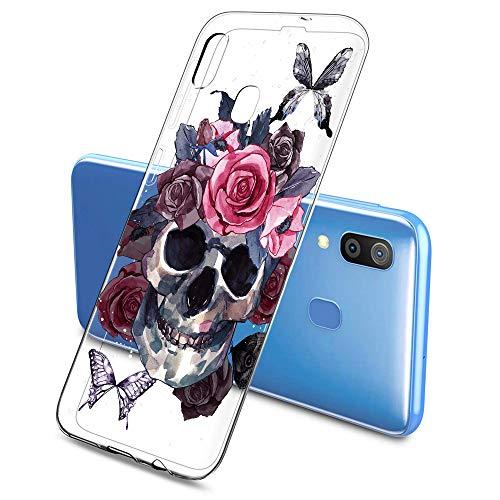 Oihxse Clair Crystal Soft Silicone Compatible pour Samsung Galaxy S6 Coque Transparente TPU Crâne Rose Motif Design Housse Ultra Mince Protection Antichoc Etui(E6)