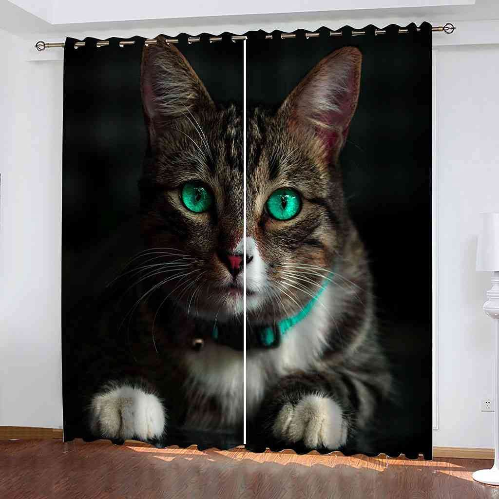 BXXYXH Blackout Thermal Insulated Curtains 3D Special Campaign Animal Price reduction Cat Pattern