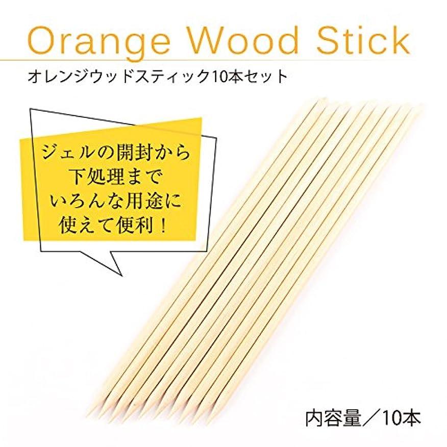 マイク欲望性別オレンジ ウッドスティック 10本セット ジェルネイル