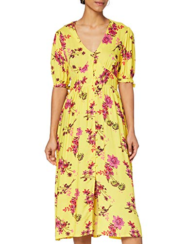 Marca Amazon - find. Vestido Midi Boho Mujer, Amarillo (Yellow), 46, Label: XXL