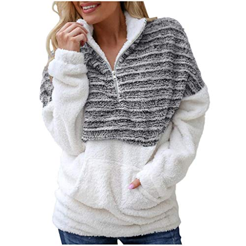 Lenfesh Rollkragenpullover Damen Pullover Teddyjacke Casual Winter Teddy-Fleece Stehkragen Langarm Pullover Oversize Sweatshirt Warm Langarmshirt Outwear