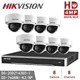 Hikvision IP Camera Kits DS-7608NI-K2/8P H.265 8-Channel PoE 4K Network Video Recorder NVR + 8pcs DS-2CD2143G0-I 4MP IP Camera IR Fixed Dome IP Camera Replace DS-2CD2142FWD-I (8Channel + 8Camera)