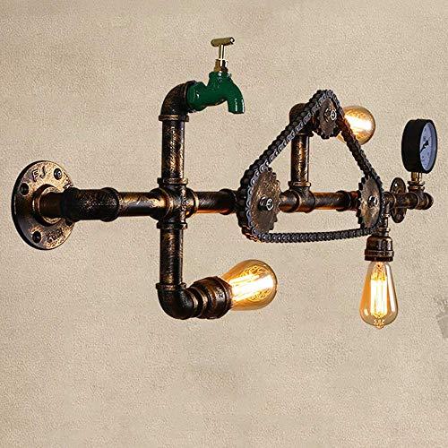 NZDY 3 Luces Lámparas de Pared Retro Cadena Tubería de Agua Grifo Luces de Pared Industria Viento E27 Enchufe Linterna de Pared Luz de Restaurante Loft Bar Aplique de Pared Pasillo de Café Escalera L