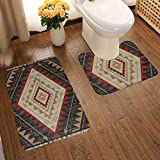 Vbcdgfg Bathroom Rugs Sets 2 Piece Western Arrow Southwest Native American Bathroom Rugs Mats Set 2 Pieces Bath Rugs for Bathroom Washable U-Shaped Contour Rug 19.5 X 31.5 Inch