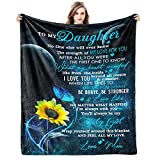 Gift for My Daughter Blanket from Mom as Birthday Present I Love You Letter to Her, Ultra-Soft Flannel Fleece Light Weight Bed Throw 60x50''