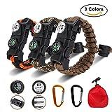 3個セット サバイバルブレスレット、Siying 多機能 登山 野外生存ブレスレット SOS LEDライト ファイヤースターター 火打石 ホイッスル スクレーパー - 無料2山登りバックル+ 1キャリーポーチ