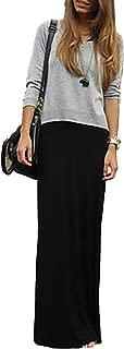 Vivicastle Women's USA Spand Long Solid Rayon Foldover Maxi Skirt