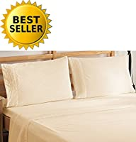 Elegant Comfort Bedding Luxury 4-Piece Bed Sheet Set 1500 Thread Count Egyptian Quality Wrinkle Free Hypoallergenic with Deep Pockets, Queen, Cream