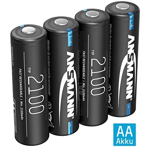 ANSMANN Akku AA 2100mAh NiMH 1,2V - Mignon AA Batterien wiederaufladbar mit geringer Selbstentladung ideal für Funk-Maus/Tastatur, Wecker/Uhr, Spielzeug, Solarlampe, LED Lampen, Deko (4 Stück)