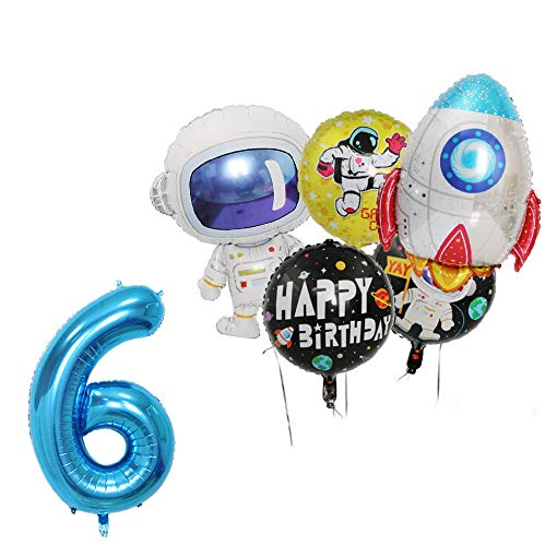 5Pcs Rocket Balloons Party Supplies Spaceman Mylar Balloon for Birthday Balloon Bouquet Decorations, Outer Space Theme, Baby Shower, Home Office Decor, Birthday Backdrop (6th)