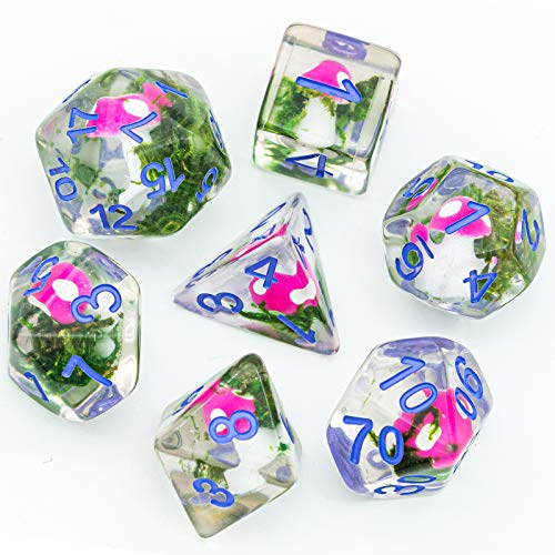 UDIXI 7PCS Polyhedral DND Dice, D&D Dice Set Filled with Mushroom and Flower for Role Playing Dice Games as DND RPG MTG Table Games (Seaweed)