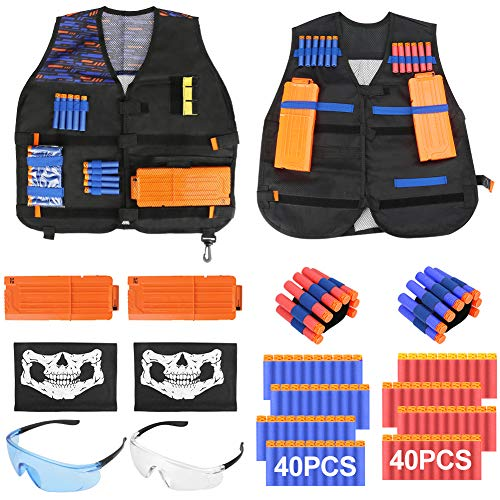 Allnice 2 Pack Kids Tactical Vest Kit for Nerf Guns Elite Series, Shooting Games Accessories with Tactical Vest, Refill Darts, Reload Clips, Tactical Mask, Wrist Band, Protective Glasses