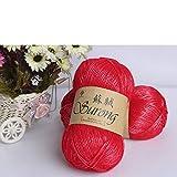 AUBERSIT Hilos de tejer de algodón de seda de 1 kg, hilo grueso de costura de ganchillo, para hilo de tejer, suéter de bufanda tejido a mano DIY, hilo rojo NO4, China
