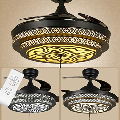 Retro vintage Plafondventilatorverlichting met lamp Chinese stijl Dimbare led Fans plafondlamp voor thuis Eetkamer Slaapkamer Huiskamer Bar Coffeeshop,B,Remote Control