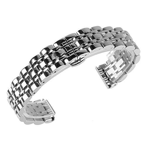 Beauty7 - Correa de reloj de acero inoxidable y metal, 16 mm, 18 mm, 20 mm, 21 mm, 22 mm, 23 mm, 24 mm, color plateado Pulsera 20mm plateado