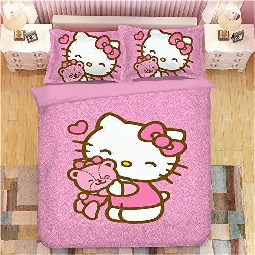YOMOCO Hello Kitty Juego de ropa de cama – Funda nórdica y dos fundas de almohada, microfibra, impresión 3D digital de tres piezas (03, Single 140 x 210 cm)