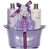 Gloss - caja de baño, caja de regalo para mujeres - Bañera Retro - Shimmer de Belle & Whistle - Lilac - 4 Piezas