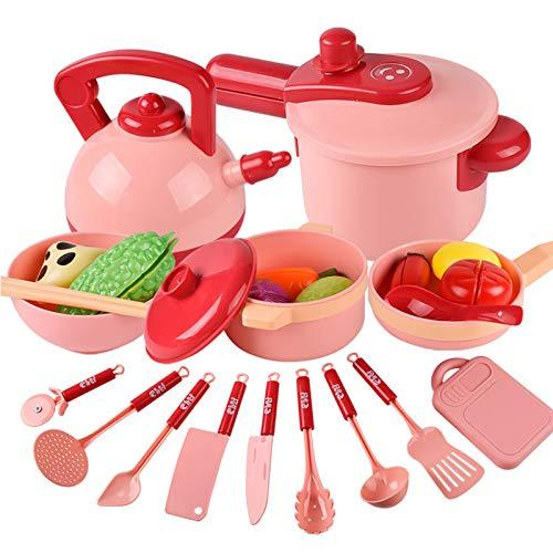 16 piezas de cocina, accesorios para juegos de simulación, juguetes, utensilios de cocina, juego de ollas y sartenes, y comida de juego para cortar para niños, herramienta de aprendizaje educativo