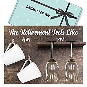 """Perfect 2021 Retirement Gift for Women and Men: Wine Rack decorated with funny printed """"The retirement feels like"""" having coffee in the morning and have wine at night . funny gift for him or her, unique wood holders make for the perfect retirement pr..."""
