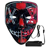 Wocst Halloween Mask Light up Scary Mask LED Mask Cosplay Glowing Mask EL Wire Light up Mask for Halloween Festival Party (Blue,Pink)