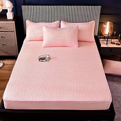 GZGLZDQ Protector De Colchón King Size Protector De Colchón Transpirable E Impermeable A Prueba De Polvo Relleno De Fibra Funda De Colchón para Gemelos (Color : Pink, Tamaño : 180x200cm)