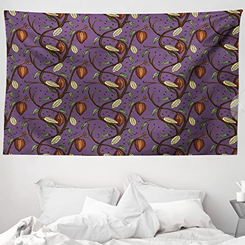 ABAKUHAUS Kakao Wandteppich & Tagesdecke, Kakaobohnen auf Ästen, aus Weiches Mikrofaser Stoff Wand Dekoration Für Schlafzimmer, 230 x 140 cm, Schokolade Violett Grün